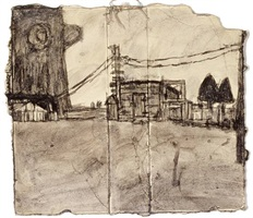 untitled (giant tree with barn) by james castle