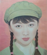 girl in military cap by qi zhilong