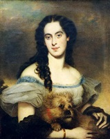 portrait of a woman with a dog by j. m. aigner