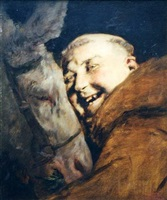 monk with a donkey by antonio casanova y estorach