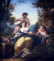 three ladies in a pastoral landscape by italian school