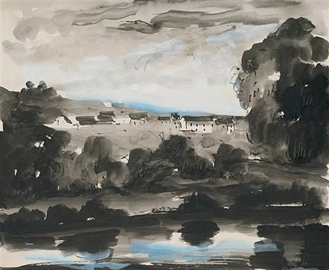 blue lake landscape by maurice de vlaminck