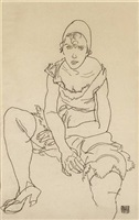 girl in underclothes by egon schiele
