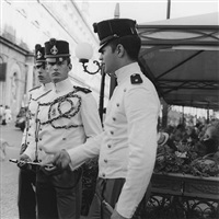 cadets outside cafe gambrinus, naples by johnnie shand kydd