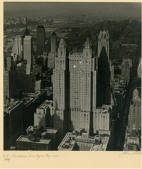 manhattan from the chrysler building tower by john albok