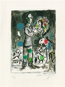 paysan au bouquet by marc chagall