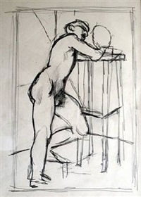 boy leaning on a stool by keith vaughan