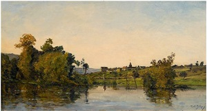 morning fishing at moret-sur-loing by hippolyte camille delpy