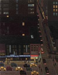 6th ave night, with traffic ii by yvonne jacquette