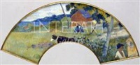 scène martiniquaise (éventail) by paul gauguin