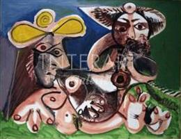 joueur de flute et femme nue by pablo picasso