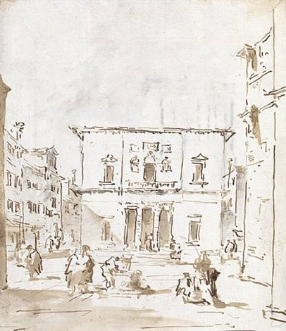 view of la fenice, venice (recto), courtyard interior (verso) by francesco guardi
