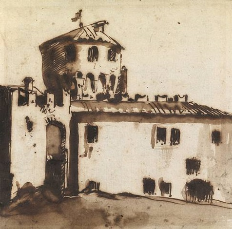 a fortified house with a round tower by giovanni battista tiepolo