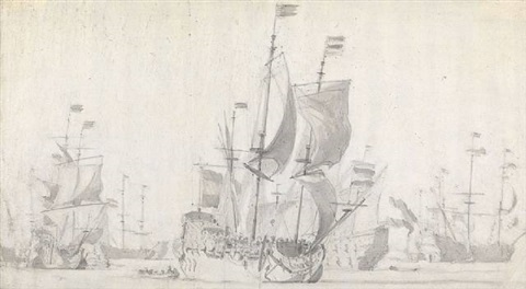 dutch ships under sail and at anchor by willem van de velde the younger