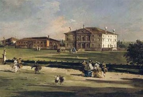 veduta di villa loredan a paese by francesco guardi