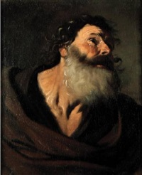 mezzo busto di vecchio con barba, piangente (san pietro penitente?) by pier francesco mola