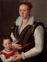 ritratto di gentildonna con bambina by santi di tito