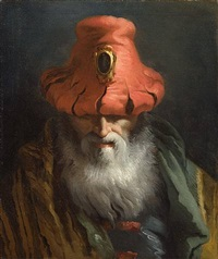 head of a philosopher with a red hat by giovanni domenico tiepolo