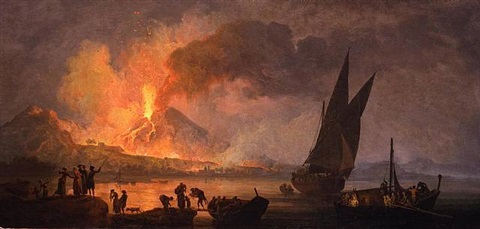 the eruption of vesuvius at night, seen from below the ponte della maddalena by pierre jacques volaire