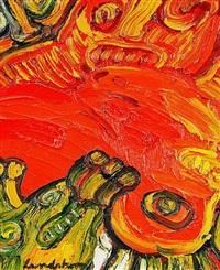 figurkomposition i grönt-gult-rptt by bengt lindström