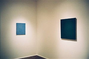 second room, john zurier (left), joseph marioni (right), 'john zurier, robert ryman, joseph marioni: painting', 2/15/02 - 4/20/02 by joseph marioni