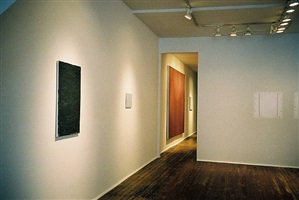 front room, john zurier (4 paintings on left ) robert ryman (right), 'john zurier, robert ryman, joseph marioni: painting' 2/15/02 - 4/20/02 by john zurier