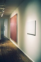 second room, john zurier (4 paintings on right), 'john zurier, robert ryman, joseph marioni: painting', 2/15/02 - 4/20/02 by john zurier