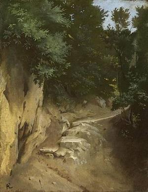 hohlweg, campagna romana /<br>narrow path in the campagna romana by anselm friedrich feuerbach