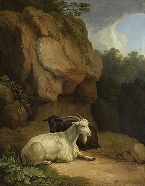 zwei ziegen in einer landschaft /<br>two goats on a rocky ledge by jacob philipp hackert