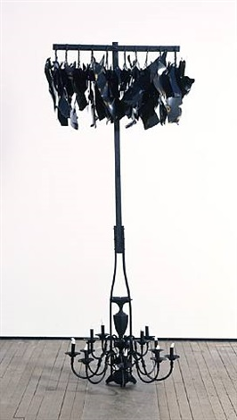hanging lights; cotton flames by nari ward
