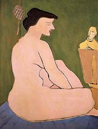 artist & model in studio by milton avery
