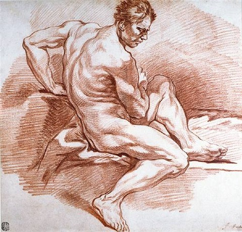académie of a male nude by françois boucher