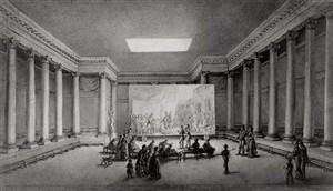 an assembled company in a neoclassical building admiring a large painting of alexander with apelles painting campaspe by jean-pierre norblin de la gourdaine