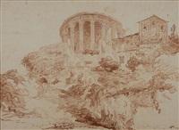 the temple of the sibyl at tivoli by hubert robert