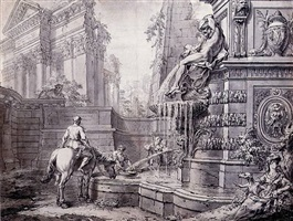 architectural capriccio with a fountain by gilles-marie oppenord