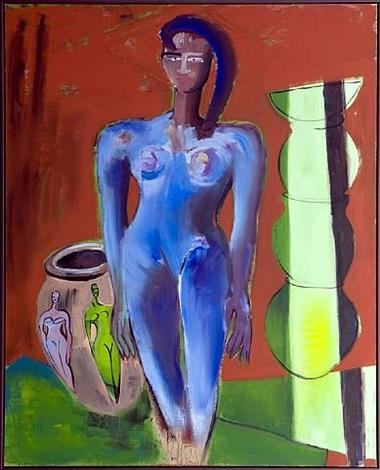 blaue figur mit amphoren by elvira bach