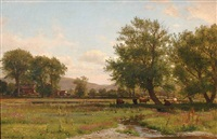 idyllic farm scene with cows by worthington whittredge