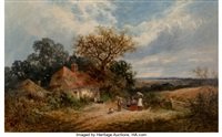Landscape with Figures outside a Cottage