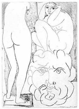 femme songeuse et inquiète dans l'atelier de sculpture (bloch 188) by pablo picasso