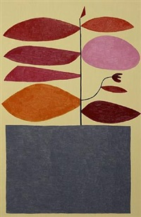 untitled (red and pink on tan) by jonas wood