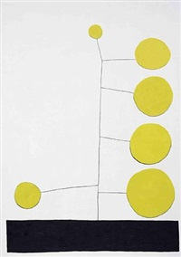 untitled (big yellow dot) by jonas wood