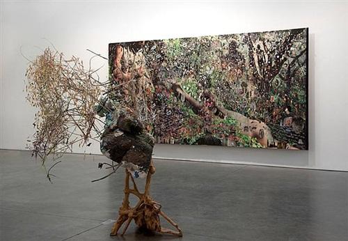 installation view: elliott hundley agave of the bacchae andrea rosen gallery, new york, new york. by elliott hundley