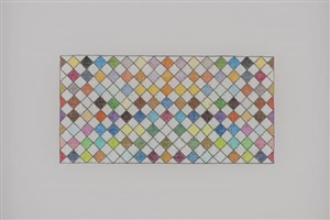 untitled (72 colors in a harlequin checkerboard, butterflied) by george stoll