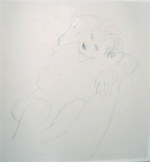 celia reclining by david hockney