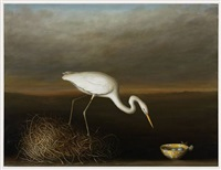 egret with bowl by david kroll