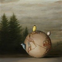 globe and three birds by david kroll