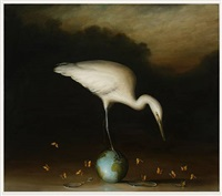 egret and small globe by david kroll