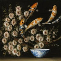roses and koi by david kroll