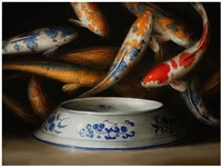 koi (blue and white bowl) by david kroll