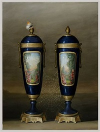 two blue vases by david kroll